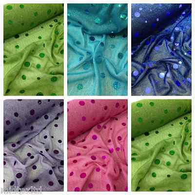 Round Hologram Sequin 58  Fancy Dress Prom Knit Fabric M154 Midtex • 4£