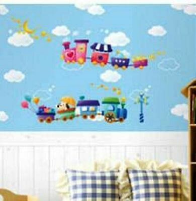 Trains Tank Engine With Cute Dogs Nursery Childrens Wall Sticker Decoration • 4.53£