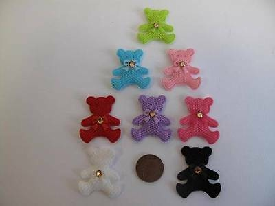 5 X Fabric Teddy Bear With Gem Bow Tie Embellishment Card Making, Sewing, Topper • 3.73£