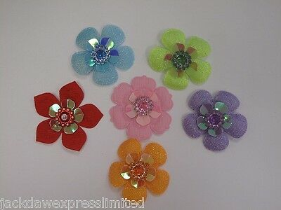 5 X Fabric Flower With Gem Centre Embellishment, Cardmaking, Sewing, Topper • 3.73£