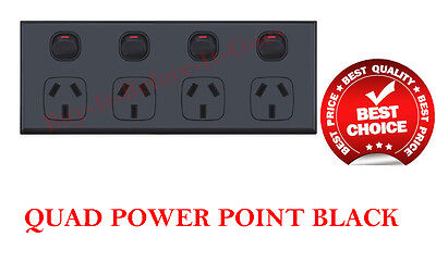 AU25 • Buy Quad Double Power Point Black 4 Socket Outlet Wall Plate Replace Single Gpo