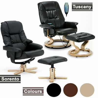 NEW LEATHER SWIVEL RECLINER CHAIR W FOOT STOOL ARMCHAIR HOME OFFICE • 144.99£