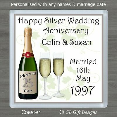 £3.45 • Buy Personalised Silver 25th Wedding Anniversary Coaster Gift Present