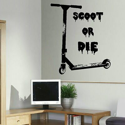 £14.49 • Buy Large Wall Sticker Of Stunt Scooter Scoot Or Die Uk Art Transfer Poster Decal