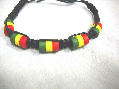 $3.29 • Buy NEW BLACK MACRAME CORD W RASTA COLOR BEADS RED GREEN YELLOW TIE BRACELET 7 - 10