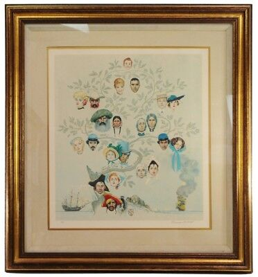 $ CDN6400.32 • Buy Norman Rockwell Family Tree Signed Autograph Circle Lithograph Artist Print