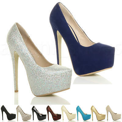 Womens Ladies High Heel Concealed Platform Party Court Shoes Pumps Size • 9.99£