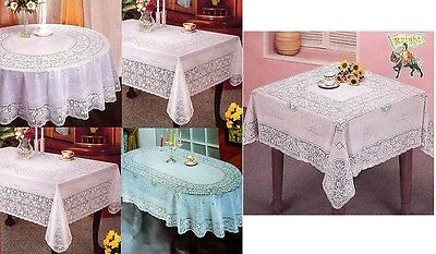 Round Oval & Rectangle Vinyl White Embossed Lace Table Cloth Table Cover Kitchen • 7.95£