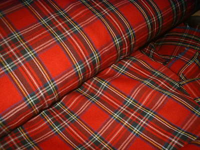 £4.70 • Buy Finest Royal Stewart Tartan Fabric 80% Viscose 20% Poly Red Suiting 150cm