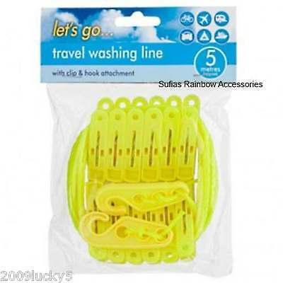 Washing Line & Clip Pegs Travel Clothing Camping Outdoor Use Laundry 310 • 4.99£