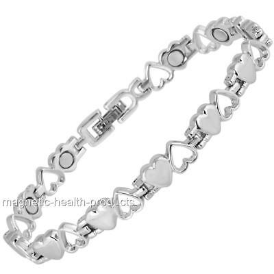 Ladies Magnetic Healing Bracelet Silver Hearts Bangle -arthritis Pain Relief 9 • 9.99£