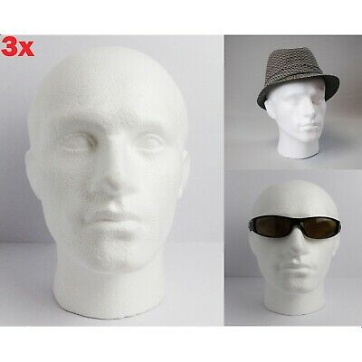 £20.34 • Buy 3x POLYSTYRENE MALE DISPLAY HEAD MANNEQUIN FOR HATS, GLASSES, SCARFS