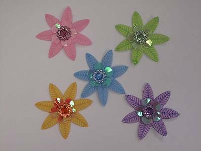 5pc Pack Fabric Flower Leaf With Gem Centre 43mm Embellishments For Arts & Craft • 3.62£