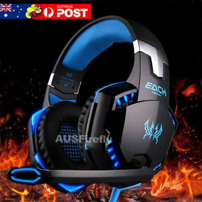 AU37.95 • Buy 3.5mm Gaming Headset MIC LED Headphones Surround For PC Mac Laptop PS4 Xbox One