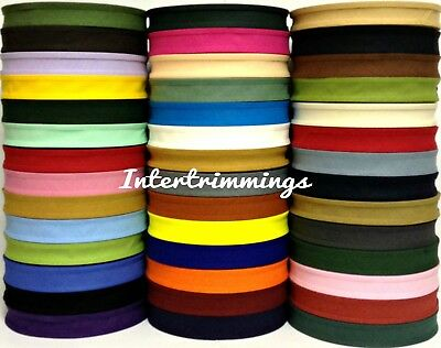 Cotton Bias Binding Tape Folded 37 X 25mm (1 Inch) Choose Colour & Length  • 5.99£