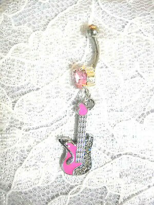 £4.09 • Buy PINK INLAY GUITAR With MUSIC NOTE & CRYSTALS ON 14G PINK CZ BELLY BUTTON RING