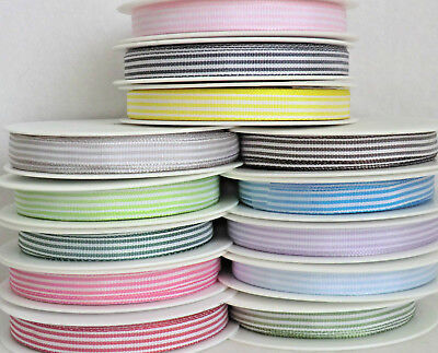 5mm 10mm X 2M POLYESTER STRIPE RIBBON.LILAC,YELLOW,RED,NAVY,GREY,BLUE,GREEN,PINK • 0.99£