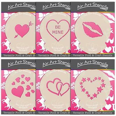 £4.99 • Buy Valentines Day Stencils Love Heart Cake & Craft Designs - Wash And Reuse