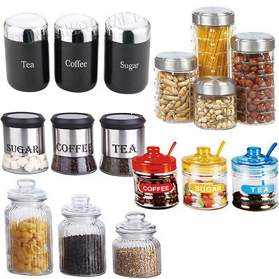 3pc 4pc Canister Set Stainless Steel Coffee Tea Sugar Jar Lid Canisters Storage • 7.95£