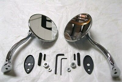 $57.95 • Buy Stainless Steel 4  Retro Style Street Rod Swan Neck Mirrors Ford Chevy PAIR
