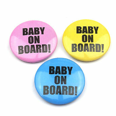 Baby On Board  - Button Badge - 25mm 1 Inch- Choice Of 3 Colours • 1.99£