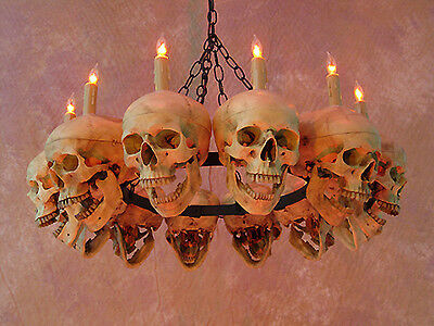 $399.95 • Buy Life-Size Skull Chandelier W/ 12 Skulls, Halloween Prop, Human Skeletons, NEW