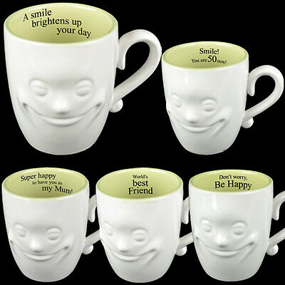 Smiling Face Mug Tea Coffee Fine China Ceramic Mugs Gift Set Novelty New 3d Xmas • 3.99£