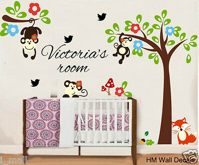 Cot Side Tree & MONKEYS, FREE Personalised Name Wall Sticker For KIDS / NURSERY • 14.74£