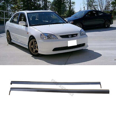 $129.99 • Buy For 01-03 Honda Civic 2/4dr RS Style Black PP 2pcs Side Skirts Spoiler Bodykit