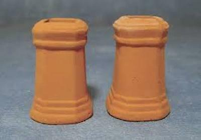 Two Large Square Clay Chimney Pots Miniatures Fixture & Fittings Roof 1.12 Scale • 2.49£