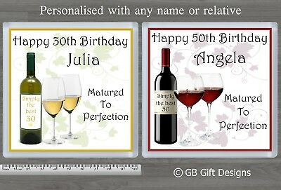 Personalised Red Or White Wine Birthday Coaster 18 21 30  40 50 60 ANY AGE GIFT • 3.25£