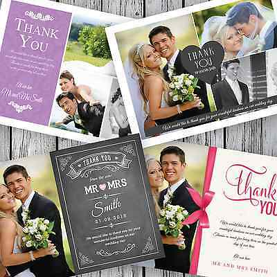 £25.99 • Buy 100 Personalised Wedding Thank You Cards With Your Photos + Envelopes