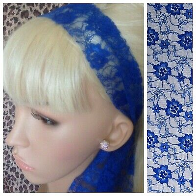 ROYAL BLUE FLORAL LACE 50s VINTAGE HEADBAND HAIR SCARF SELF TIE BOW 80s RETRO • 2.99£