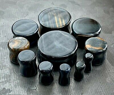 $12.95 • Buy PAIR Blue Tiger Eye Organic Stone Plugs Gauges 3mm (8g) To 25mm (1 ) Available
