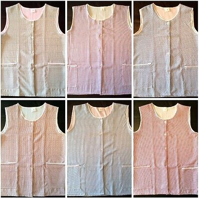 New Ladies Dogtooth Print Button Front Overall Tabard Work Apron With Pockets • 5.85£