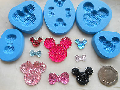 £4.25 • Buy 1x Mini Craft Mould: Mickey & Minnie Mouse Style Face BLING GEM (Resin Cupcake)