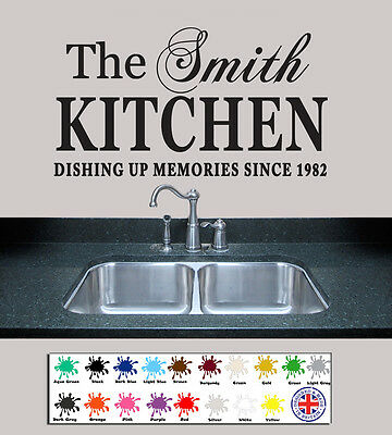 £5.49 • Buy WALL QUOTES Personalised Family Name Kitchen Wall Stickers Wall Art Custom