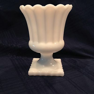 $23.99 • Buy Elegant Fluted Milk Glass Footed Compote Or Planter Mid-Century