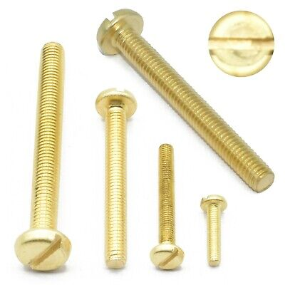 £3.39 • Buy M2 M2.5 M3 M4 M5 M6 Solid Brass Machine Screws Slotted Cheese Head Bolts Din84