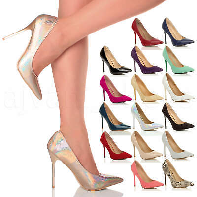 Womens Ladies High Heel Pointed Contrast Court Smart Party Work Shoes Pumps Size • 16.99£