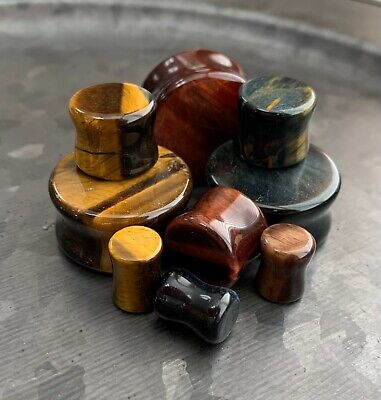 $19.95 • Buy ALL 3 PAIR Stone Plugs Yellow, Blue & Red Tiger Eye Organic Double Flare Gauges