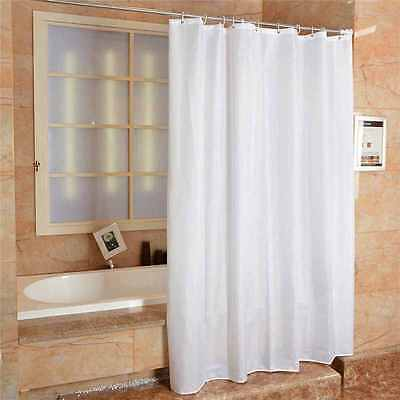 Fabric Shower Curtain Plain White Extra Wide Extra Long Standard With Hooks Ring • 9.95£