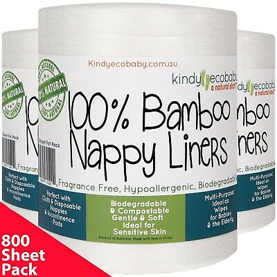 AU44.99 • Buy 880 BAMBOO Disposable Nappy Liners/Inserts For Cloth Nappy Biodegradable Natural