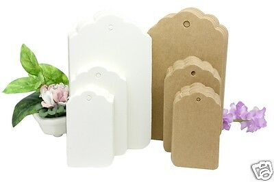 Kraft Paper Gift Tags 3 SIZES, 10-50-100/Pack Card Label  Free String UK Seller • 2.19£
