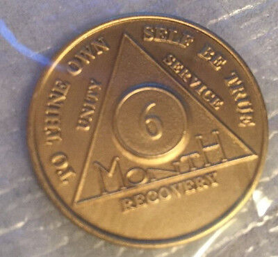 $1.70 • Buy Alcoholics Anonymous 6 Month  Recovery Coin Chip Medallion Medal Token AA Bronze