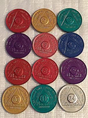 $11.69 • Buy Set Of 12 Monthly Aluminum Colored AA Recovery Medallion Coin Month 1-11 & 24hrs