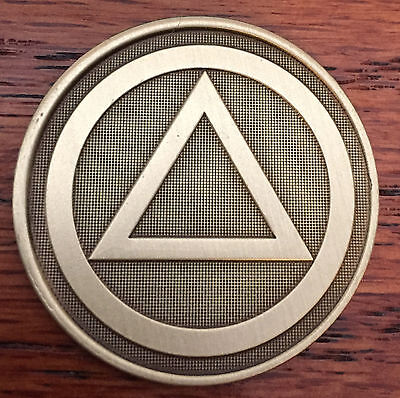 $1.70 • Buy Circle Triangle Serenity Prayer Bronze Recovery Medallion Coin Chip AA