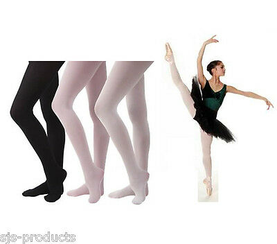 £3.74 • Buy Girls Kids Childrens BALLET DANCE TIGHTS Pink White Footless Footed Convertible