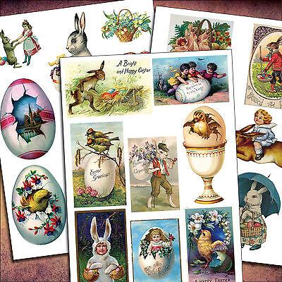 23 Victorian Easter Vintage Sticker Decal Decoupage Up Cycling Arts Craft Sheets • 4.99£