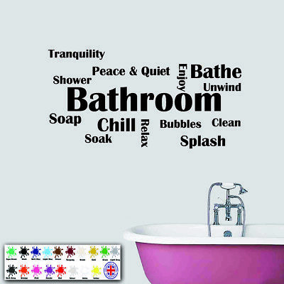 £5.99 • Buy Bathroom Wall Sticker Wall Art Quote - Montage Text  Vinyl Decal - Word Cloud